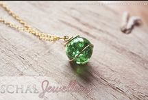 """Cat's Eye Necklace Inspiration / Thinking of making some """"Cat's Eye"""" necklaces to go along with the books. These are pics of wire-wrapping inspiration."""