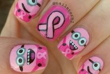 Breast Cancer Nails / We wear our pride on our fingers! #breastcancer http://curebreastcancerfoundation.org/