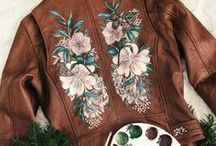 Apparel / Painted leather, floral designs and illustrations.