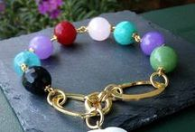 Love Gemstones ...! / 18ct Gold Plated Bracelets, Necklaces and Earrings with natural Gemstones
