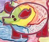 Vrolijke varkens - Unieke kunst / Deze vrolijke varkens uit de VarkensCollectie van Fräncis en gesigneerd door de kunstenaar, zijn te koop voor: serie (3 Stuks) 5,00 euro of 1,98 euro per stuk -  http://fmlkunst.home.xs4all.nl/schilderkunst/schilderkunst.htm - fml.varkens@xs4all.nl