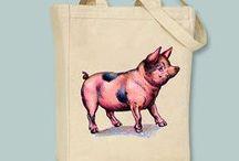Tassen - Bags / Tassen met varkens