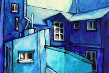 illustration and painting - blue