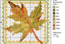 Cross Stitch Leaves