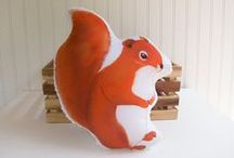 Squirrel ~ Toys, Games, Plush / Squirrel toys, games, plush stuffed animals and puppets: inspiration from Chatterer the Red Squirrel and Happy Jack Squirrel; characters in the Thornton W. Burgess books.