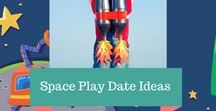 Space Themed Play Date Ideas / Blast off with these entertaining, engaging, educational but FUN Space Themed Play Date Ideas! Kids can learn about stars, galaxies, planets, UFOs, the moon, the sun, rockets, aliens and so much more!