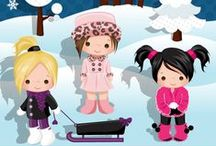 Mygrafico Winter Wonderland Snow FUN / Clipart for winter featuring SNOW, ice skating, sledding, and snowmen images and everything snowy for parties, scrapbooks, cards, and decorations and craft projects. / by Mygrafico Digitals