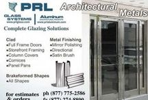 Architectural Metals / Aluminum / We in-house manufacture full framed clad doors as well as custom manufactured all glass doors. We fabricate custom designed doors to fit all your entrance system specifications. Our Brake Metal Division can provide you with a wide range of custom architectural metal brake formed shapes such as: Head and Sill flashing, Angles, Hat Channels, Channels, Z - shapes, Column covers, Handrail shapes,Top cap and cladding for base shoes.