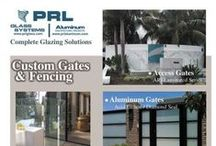 Glass and Metal Gates / PRL can build your next aluminum and glass gate to your specifications. We have the ability to manufacture custom glass, aluminum or metal clad gates. We offer full framed clad doors in various finishes and various lock options. We offer a full line of pivoting hardware as well. The gates can be made of clear tempered glass or textured tempered glass. We can add an artistic design or logo of your choice to the gate.