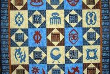 African Adinkra Quilt 2016 BOM / African appliqué patterns, once a month, representing Adinkra symbols of family and culture. FREE!