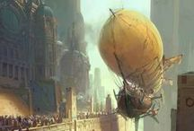 Steampunk Airships and Other Transport / Airships: dirigibles, zeppelins, and balloons ~ the ubiquitous, iconic, and definitive means of transportation for the proper Steampunk lady or gentleman. And all the other forms of transport: steam-powered pennyfarthings, aethertractors, aeroplanes, railways and motorcars, steamcycles and locomotives,steam elephants and steam whales, trams and the Tube, cloudskiffs and skyships, the Nautilus and the Neverwas Haul. / by Warjna Kaztjmjr