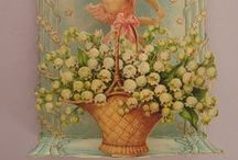 MUGUET Images / Lily of the valley vintage cards Inspirations pour le pergamano
