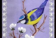 """PERGAMANO OISEAUX REAS / Réalisations en Pergamano thème """"Oiseaux"""""""