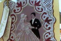 PERGAMANO MARIAGE REAS / Cartes réalisées en Pergamano, sur le thème du mariage