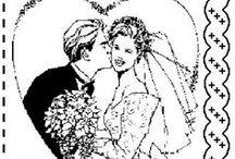 """PERGAMANO MARIAGE patrons / Patrons et idées sur le thème du mariage pour la réalisation de cartes """"Pergamano"""""""
