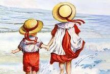 ENFANTS PLAGE  Images / Les enfants au bord de la mer, qui s'amusent sur la plage-Beach