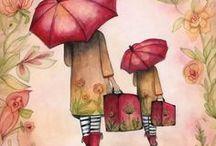 UN P'TIT COIN D' PARADIS-ART / Un p'tit coin d'paradis contre un coin d'parapluie......elle avait quelque chose d'un ange.....(Brassens). Parapluies-Ombrelles