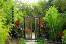 Garden Inspiration / OUTDOOR LIVING: Colors, textures, paths, water features, arbors, fences, trellises, garden art and more. Inspiration begins with a spark that ignites the imagination.