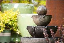 Garden Fountains / Relax with the sight and sound of moving water -- on the patio, or in the garden. Fountains can also pleasantly mask unwanted sounds from neighbors, etc.
