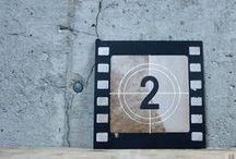 rolls of film - image - klisza filmowa - obrazek / Obrazek, dekoracja, ręcznie malowana, drewno, akryl.