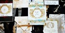 Royal wedding invitations / Royal wedding invitations with gold details and classical, ornate designs.