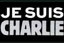 Je Suis Charlie / The Je Suis Charlie movement after the bombings at the Charlie Hebdo offices in Paris, France, January 2015.    I've tried to translate (unfortunately poorly) some of the French captions.  Other language translations are taken from various sources on the internet. / by Barbara McCormack-Dunfee