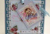 Kartka na Chrzest - ręcznie wykonana / Karta - pamiątka Chrztu. Karty na Chrzest ręcznie wykonane przez Dorotę Jarosińską.