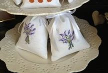 lavender / Embroidered lavender bags, cross stitch lavender, Cross stiched lavender sachet for a friend, lavender lavande cross stitch, point de croix,