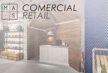 MAS · Comercial / Imágenes de nuestros proyectos de interiorismo comercial. Contribuimos a que el cliente final disfrute de la experiencia de compra, dejando, a la vez, la impronta de la firma en su recuerdo.
