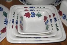 """♥ Boerenbont Tableware ♥ / Boerenbont is a traditional pattern used on pottery from the Netherlands. Translated from Dutch, """"Boer"""" means farmer and """"bont"""" refers to a mixture of colors. The distinctive floral pattern is hand-painted with simple brush strokes of red, yellow, green and blue. The pattern originated as a local craft made by farmers's wives in the 19th century. / by Cathy Nickols"""