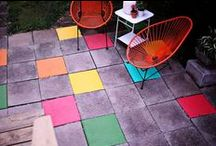 painted flagstones pavers patio tiles