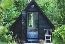 black shed, black house, black cottage