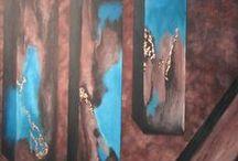 Mona Østbye / Mona maler malerier figurativ og non figurative motiver