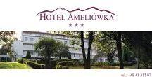 Hotel. / Zatrzymując się w Ameliówce mają Państwo do dyspozycji eleganckie i funkcjonalne pokoje wyposażone w nowoczesne łazienki, zaopatrzone w internet bezprzewodowy oraz telewizję.