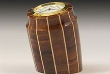 Clocks - Segmented Woodturning / You won't lose track of time with these handsome quartz clocks.  Would look great on a desk, in a den, kitchen work station, or more. Small enough to not take up a lot of room but big enough to make a great impression. Also can be used as a stylish paperweight.  Don Leman