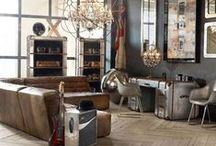 Industriële Meubels / Industriële Meubelen en woonaccessoires; industriële kasten van teak-hardhout en gerecycled hout, Industriële meubels van metaal, grote metalen klokken en prachtige landelijke Industriële lampen.