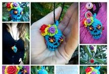 Day of the Dead Jewellery / Day of the Dead inspired skull necklaces with vibrant flowers, hearts, crosses, swirls, beads & buttons!