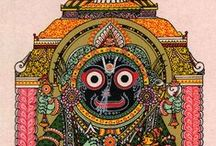 004. Lord Jagannatha, Lord Balarama and Lady Subhadra / The Supreme Lord during His time in Dwarka, and meeting again with the inhabitants of Vrindavan at Kuruksetra, is the form in which He is worshipped in Jagannatha Puri
