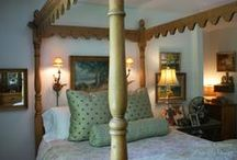 A Quiet Landing / We designed this bedroom to journal a life - pictures of children then and now, antiques purchased at all phases of life, collected oil paintings of favorite places and beloved stacks of books patiently awaiting their turn for for attention.
