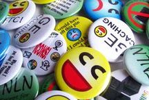Geocache Button Badges / Geocaching themed pins for geocache swag.  Some of these are sold by Island Buttons, and others are from other sellers