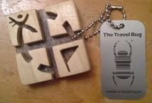 Geocaching Travel Bug and Trackables / Various geocaching trackable tags and items.