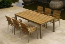 Zilart Collection / Artistic grain of rustic teak on robust stainless steel frame.