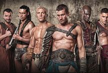 Spartacus.........gladiators,...... / Blood and sand ...gods of the arena ... Vengeance and war of the damned....