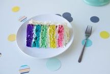Somewhere Over The Rainbow Cake / Kind of happily obsessed with rainbow cakes and colourful cake layers.
