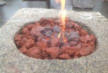 Reclaimed Granite Gas Fire Pit / Perfect time of the year to install one of our granite fire pits including propane gas setups with lava stones. Made from reclaimed granite.