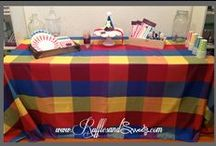 """Patches - Couture Linen / Our very bright linen of square """"patches"""" is available for sale nationwide and for rent locally in the Miami area. This is for a 6′ rectangular table. Can be specially ordered for other sizes. #kidsparty #circus #superheroes #birthday #tablecloth #couturelinen"""