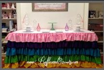 Rainbow Ruffles - Couture Linen / Our very durable rainbow ruffles couture linen is perfect for kid's birthday parties! This tablecloth is made with the most attention to detail. Proudly made in the USA. This is ready for a 6′ rectangular table, need another size? Send us an inquiry. Available for sale or rent locally. #ruffles #rainbow #couturelinen #birthday #bridalshower #babyshower