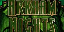 """Arkham Nights / Card and Box Images from """"Arkham Nights"""", the party game by Dann Kriss Games, with art by Ian Daniels"""