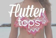 Flutter Tops: A cool new trend in swimwear / Our favorite flutter tops. Emphasize the bust and elongate the torso with this hot new trend for 2015!  #flutter #fringe #tops #swimsuits #swimwear #bikini #bikinis #bathingsuit #trending #trendy #designer #2015 #top #twopiece #beachwear #women #fashion #style #ootd #outfit