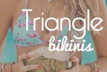 Triangle Bikinis: you can never go wrong with a triangle top! / Our favorite triangle bikinis!  #triangle #swimsuits #swimwear #bikini #bikinis #bathingsuit #trending #trendy #designer #tankinis #2015 #top #underwire #flutter #fringe #twopiece #beachwear #women #fashion #style #ootd #outfit
